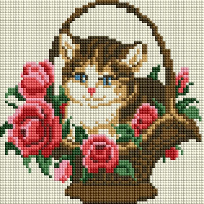 Набор Белоснежка для изготовления картин со стразами арт.БЛ.462-ST-PS Котёнок в корзинке 20х20 см