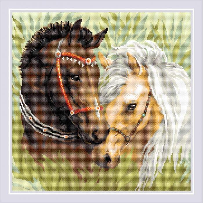 Набор РИОЛИС мозаичная картина арт.AM0039 Пара лошадей 40х40 см