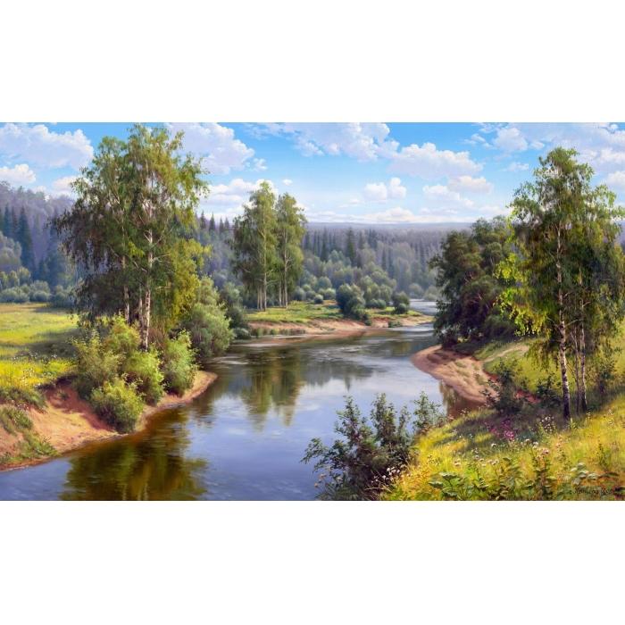 Картина 3D мозаика с нанесенной рамкой Molly арт.KM0664 Прищепа.Проточная река 40х50 см