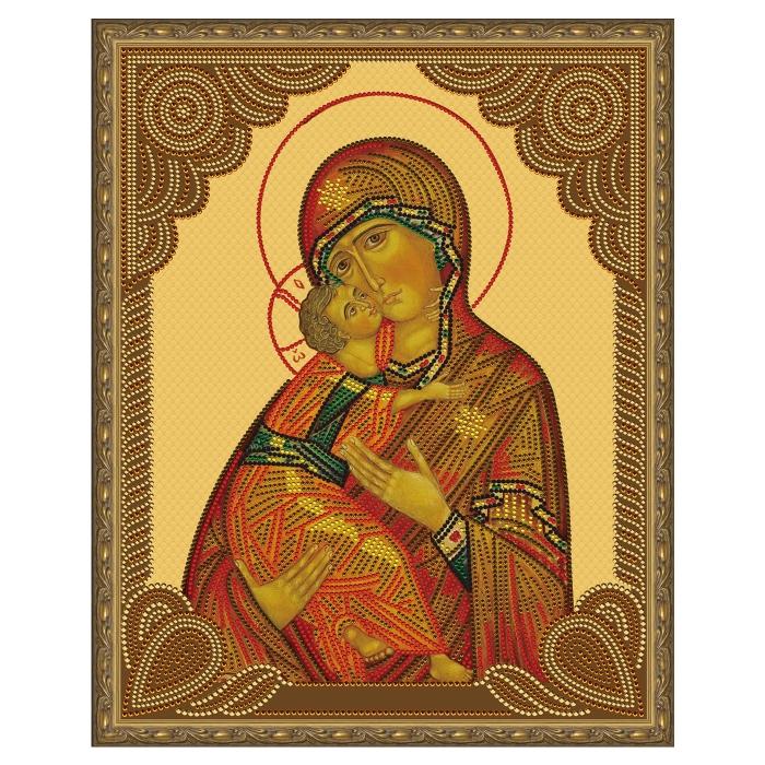 Картина 5D мозаика с нанесенной рамкой Molly арт.KM0794 Владимирская Божия Матерь (11 цветов) 40х50 см