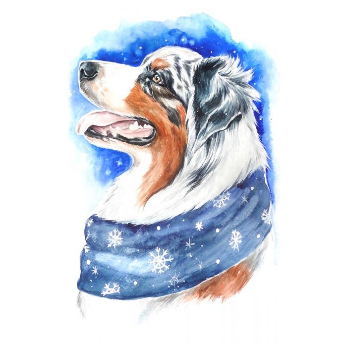 Алмазная вышивка Зимний пес LC014 20х30 см Цветной