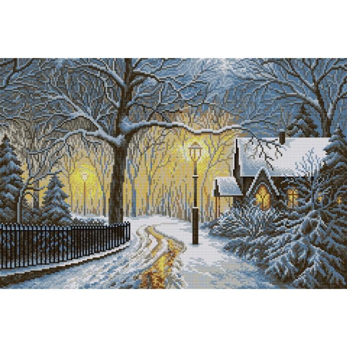 Набор для изготовления картин со стразами Вышиваем бисером арт.ВБ.V-16 Зимний вечер 60х40 см