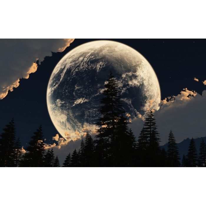 Алмазная мозаика Ah5226 Луна за облаками 40х60