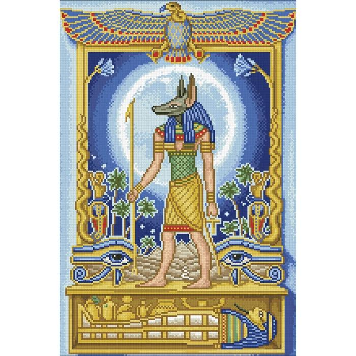 Набор Паутинка для изготовления картины со стразами арт.М108 Анубис-покровитель 35х51 см