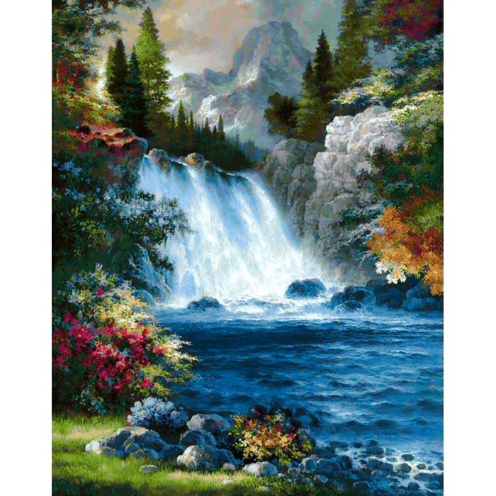 Алмазная мозаика на холсте ГРАННИ арт.Ag1008 Водопад 38х48см