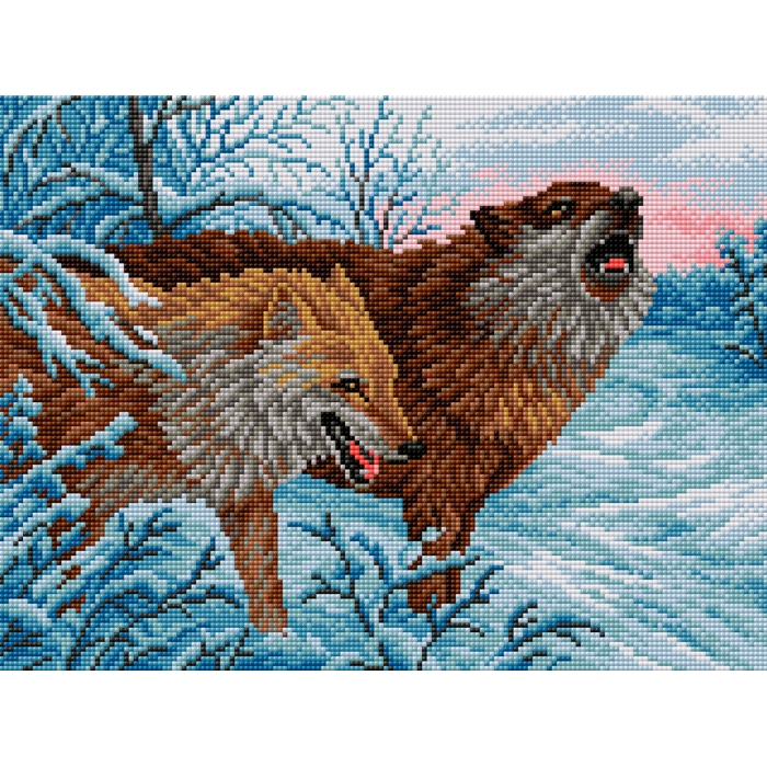Набор для изготовления картин со стразами Вышиваем бисером арт.ВБ.V-1 Волки 30х40 см