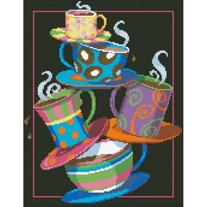 Набор Паутинка для изготовления картины со стразами арт.М228 Кофе, чай! 31х40 см