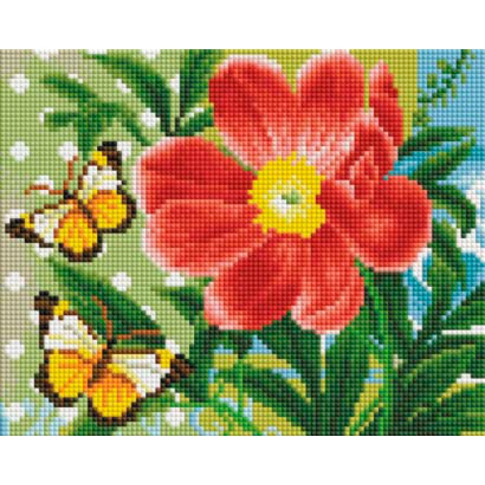 Набор Белоснежка для изготовления картин со стразами арт.БЛ.409-ST-PS Бабочки и цветок 20х25 см