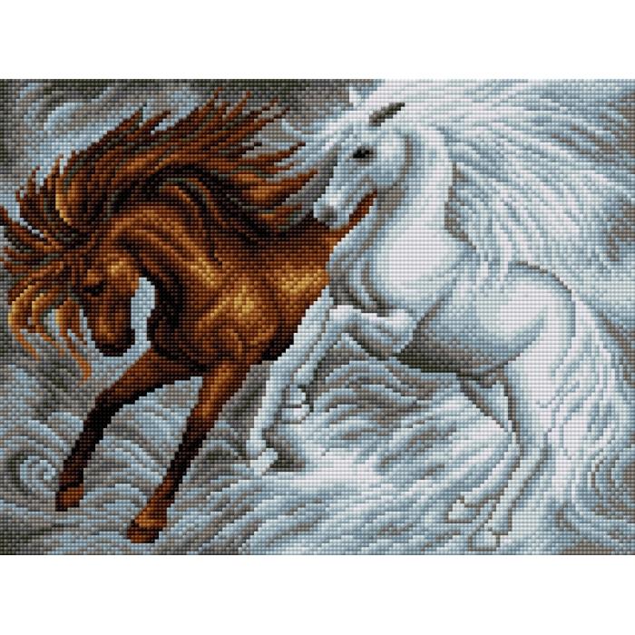 Набор для изготовления картин со стразами Вышиваем бисером арт.ВБ.V-22 Лошади 30х40 см