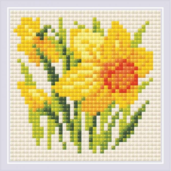 Набор РИОЛИС мозаичная картина арт.AM0032 Нарцисс 10х10 см