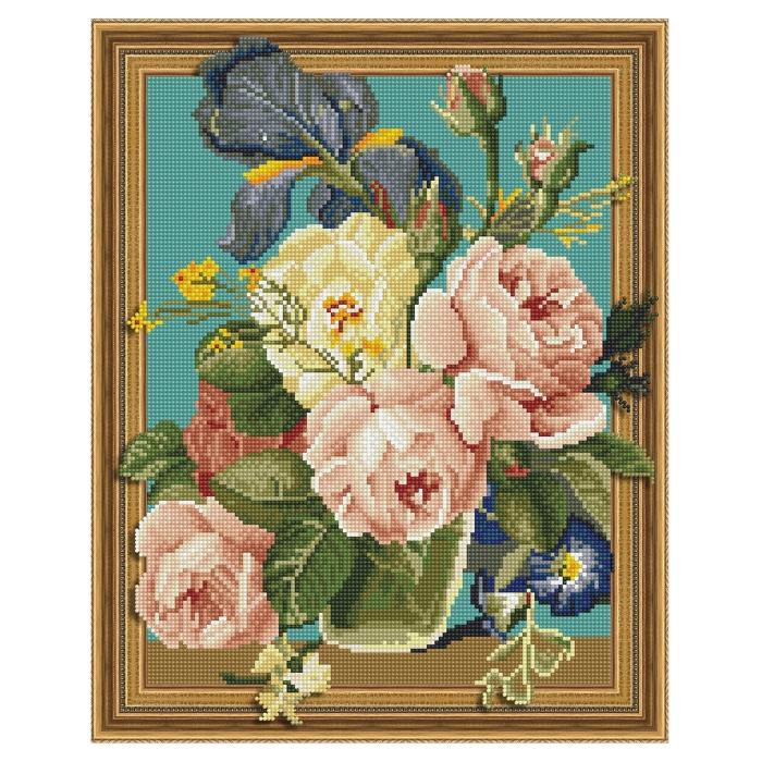 Картина 3D мозаика с нанесенной рамкой Molly арт.KM0768 Утренние пионы (30 цветов) 40х50 см