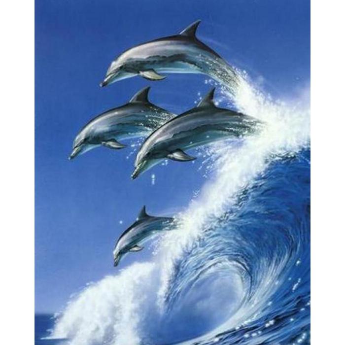 Алмазная мозаика Ah08001 Дельфины на волне 40х50