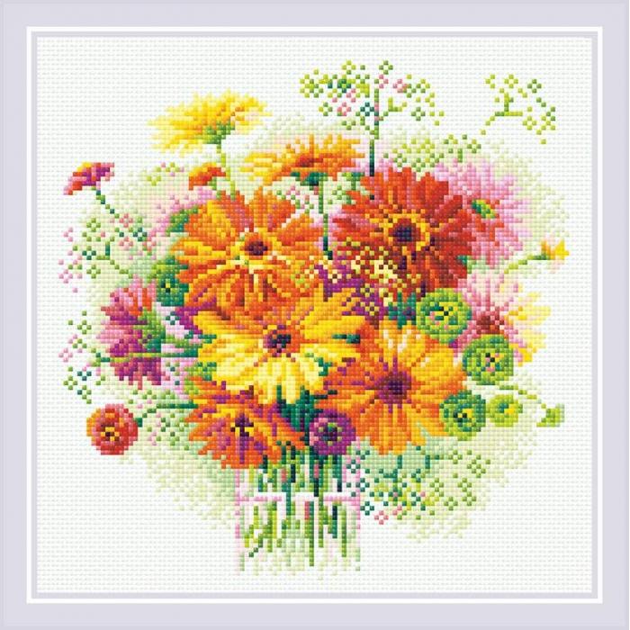 Набор РИОЛИС мозаичная картина арт.АМ0054 Акварельные герберы 30х30 см