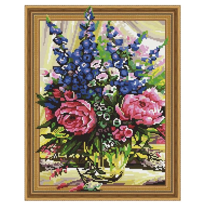 Картина 3D мозаика с нанесенной рамкой Molly арт.KM0769 Пионы с колокольчиками (24 цвета) 40х50 см