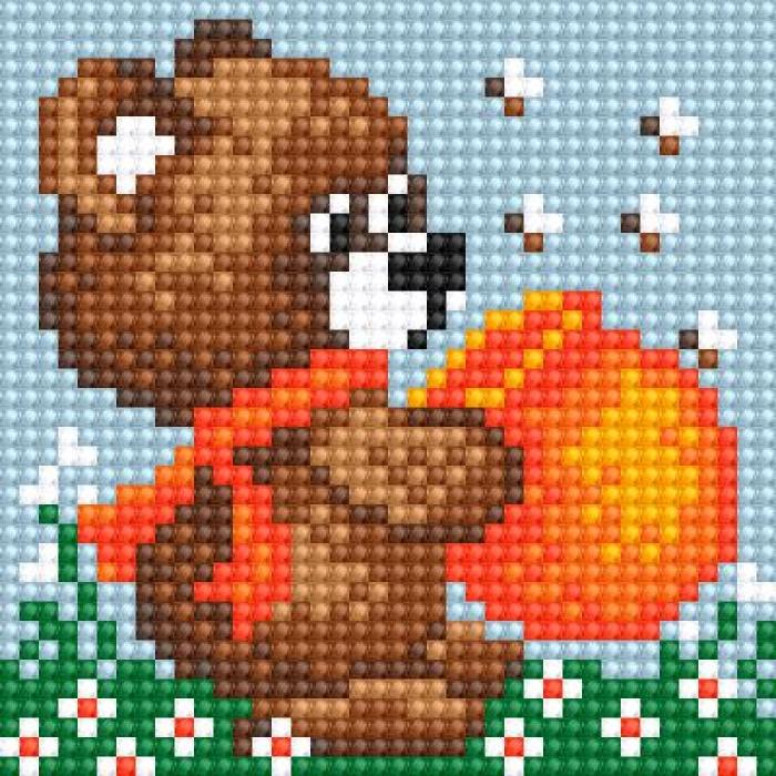 Алмазная мозаика Ah5208 Медвежонок с медом 10х10