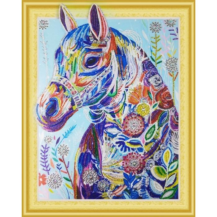 Набор Колор Кит картина алмазная с фигурными стразами арт.КК.FKU011 Цветочная лошадь 40х50