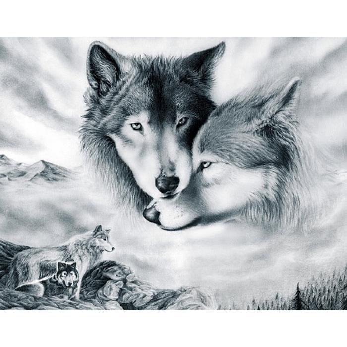 Алмазная мозаика на холсте ГРАННИ арт.Ag410 Волчья любовь 48х38см
