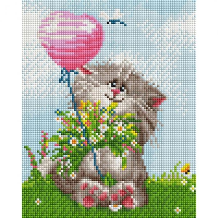 Набор Белоснежка для изготовления картин со стразами арт.БЛ.424-ST-PS Кот с букетом 20х25 см