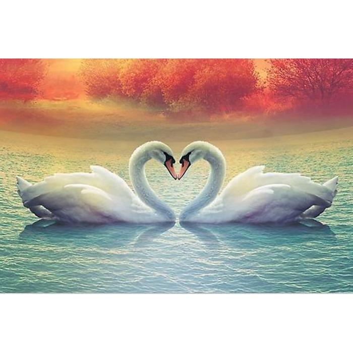 Алмазная мозаика Ah26061 Лебеди на закате 40х60