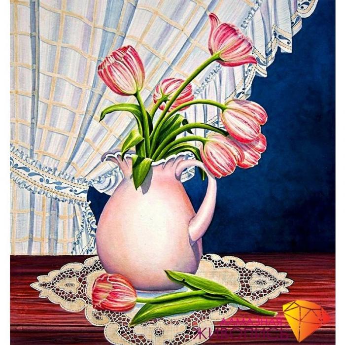 Набор для изготовления картин АЛМАЗНАЯ ЖИВОПИСЬ арт.АЖ.1234 Тюльпаны у окна 41х43 см