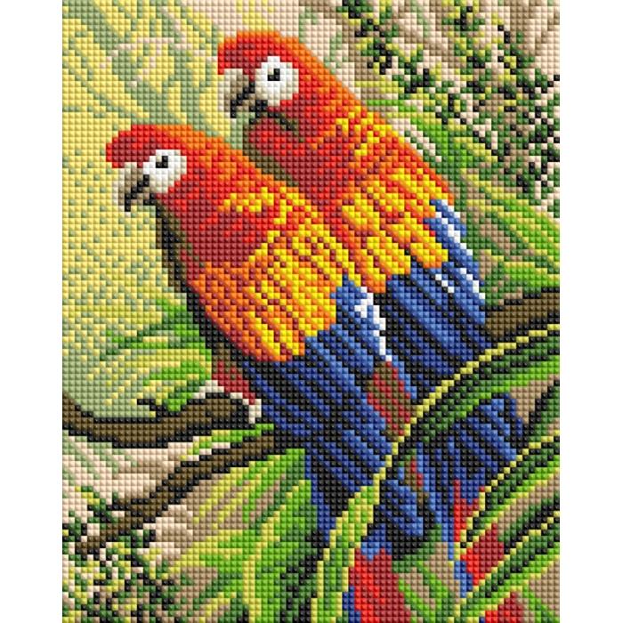Набор Белоснежка для изготовления картин со стразами арт.БЛ.416-ST-PS Попугаи 20х25 см