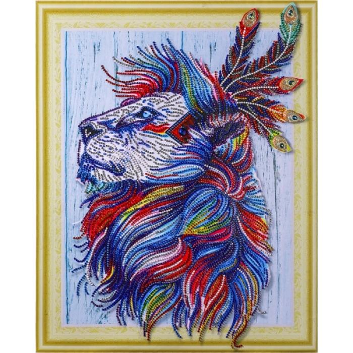 Набор Колор Кит картина алмазная с фигурными стразами арт.КК.FKU016 Алмазный лев 40х50