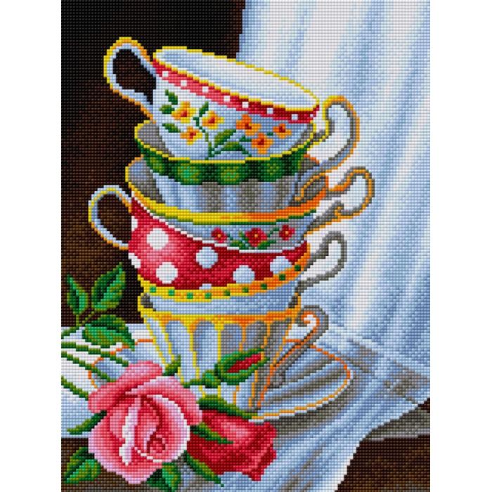 Набор для изготовления картин со стразами Вышиваем бисером арт.ВБ.V-20 Чашки с розами 30х40 см