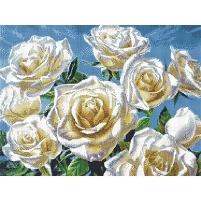 Набор Паутинка для изготовления картины со стразами арт.М243 Белые розы 50х40 см