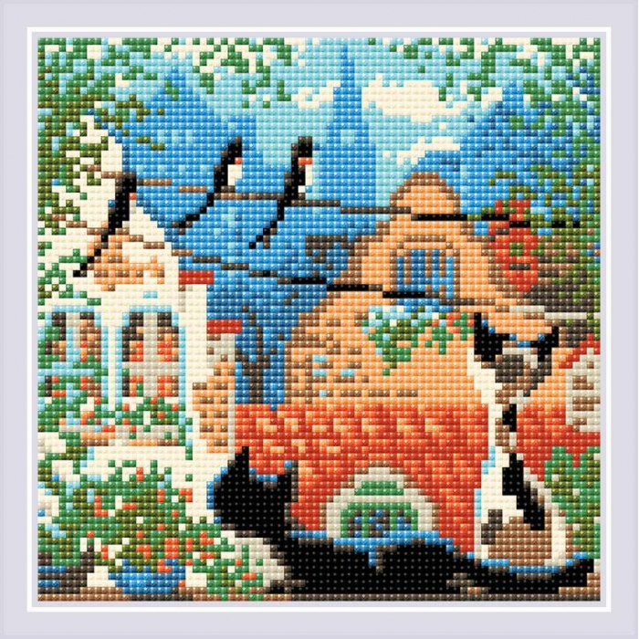 Набор РИОЛИС мозаичная картина арт.AM0048 Город и кошки. Лето 20х20 см