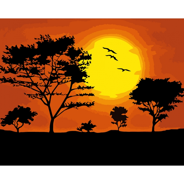 Картины по номерам Русская Живопись ФТ.A021 Закат солнца 40х50 см