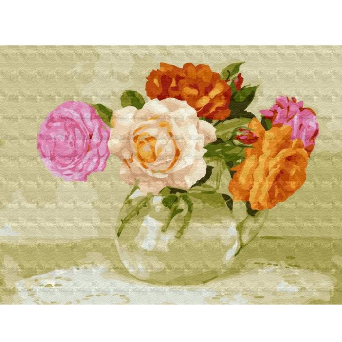 Картина по номерам с цветной схемой на холсте Molly арт.KK0662 Бузин. Розочки (22 цвета) 30х40 см