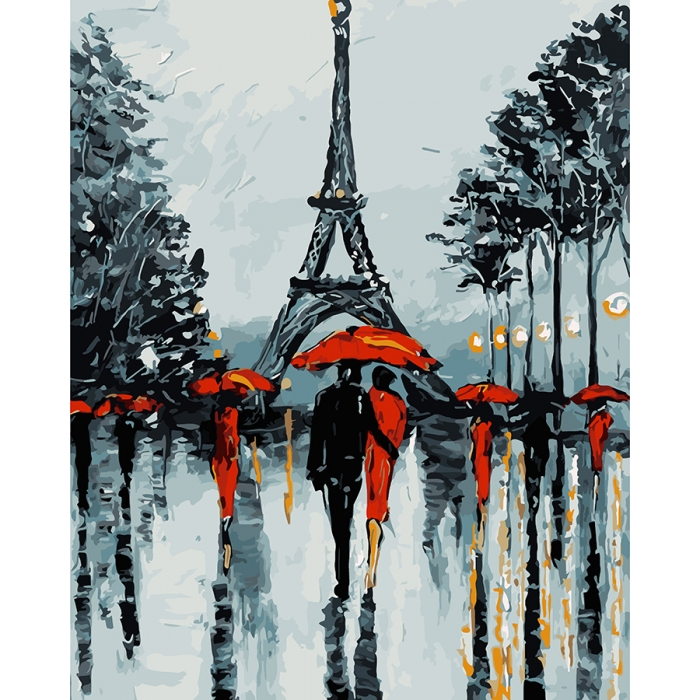 Картины по номерам на дереве DALI ФТ.WS024 Парижские зонтики 40х50 см