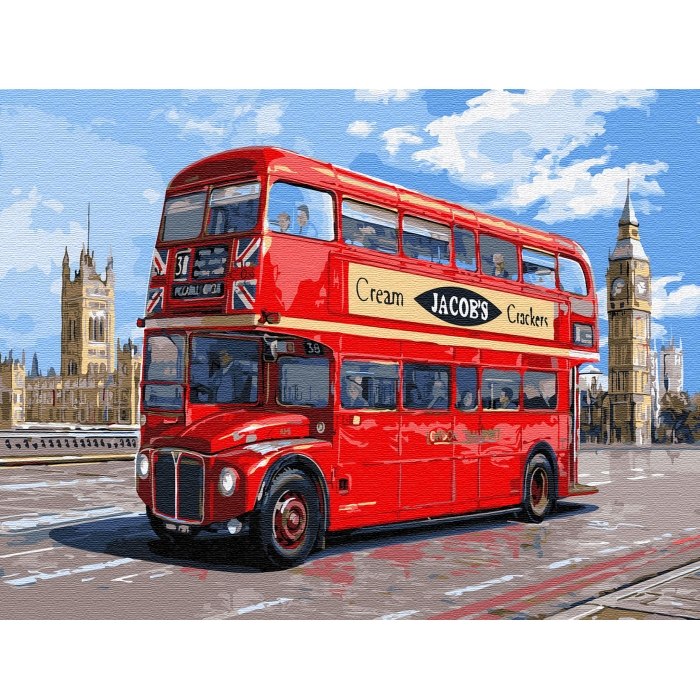 Картина по номерам с цветной схемой на холсте Molly арт.KK0650 Автобус Лондона (21 цвет) 30х40 см