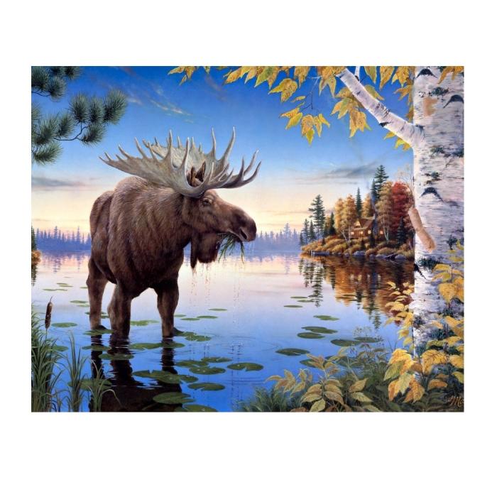 Картина по номерам с цветной схемой на холсте Molly арт.KK0607 Сохатый (20 цветов) 30х40 см
