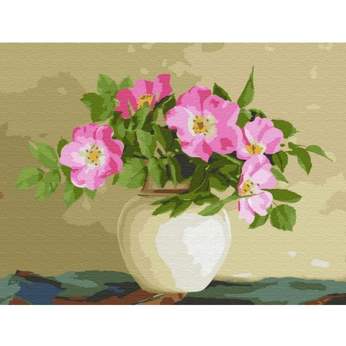 Картина по номерам с цветной схемой на холсте Molly арт.KK0664 Бузин. Цветы шиповника (22 цвета) 30х40 см