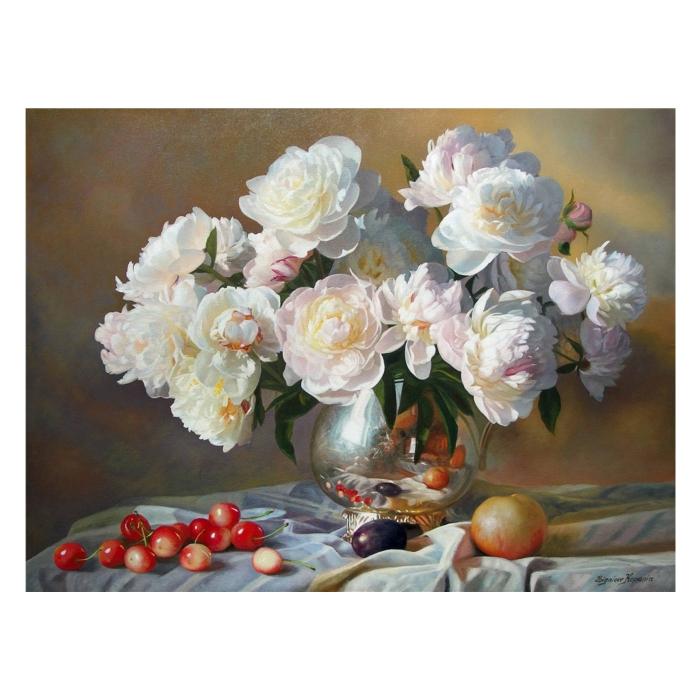Картина по номерам с цветной схемой на холсте Molly арт.KK0639 Натюрморт с белыми пионами (23 цвета) 30х40 см