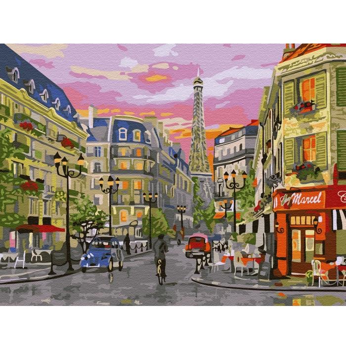 Картина по номерам с цветной схемой на холсте Molly арт.KK0653 Парижская улица (24 цвета) 30х40 см