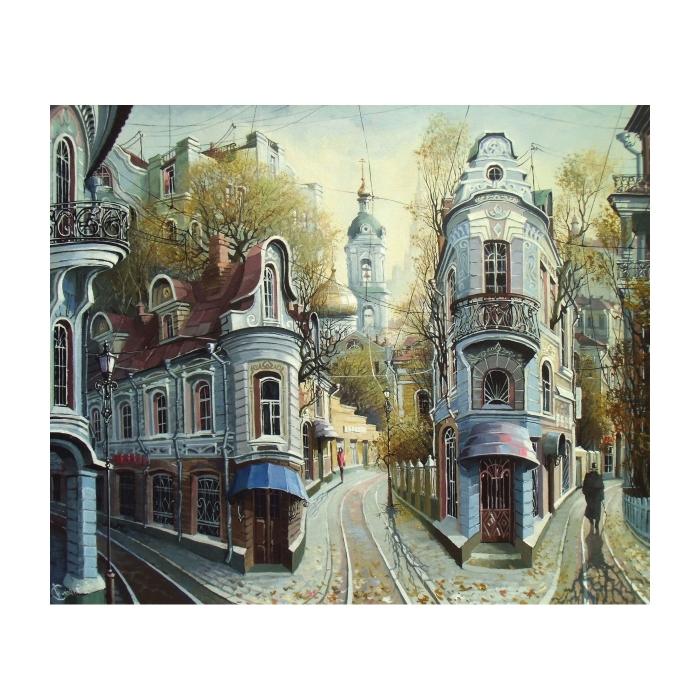 Картина по номерам с цветной схемой на холсте Molly арт.KK0611 Улочки старой Москвы (20 цветов) 30х40 см