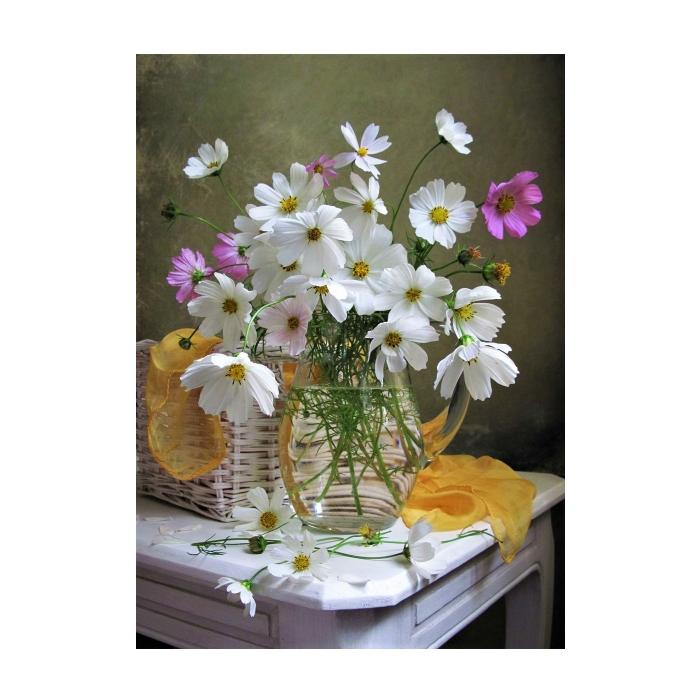 Картина по номерам с цветной схемой на холсте Molly арт.KK0636 Космея (20 цветов) 30х40 см