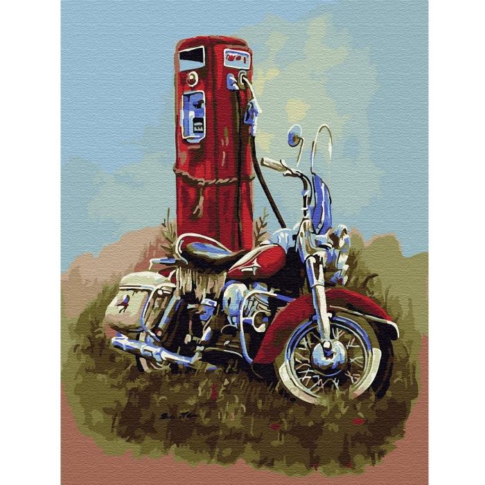 Картина по номерам с цветной схемой на холсте Molly арт.KK0643 Харлей Дэвидсон (20 цветов) 30х40 см