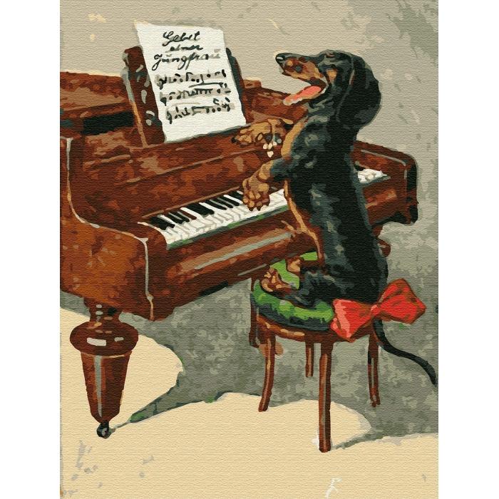 Картина по номерам с цветной схемой на холсте Molly арт.KK0644 Собачий вальс (20 цветов) 30х40 см