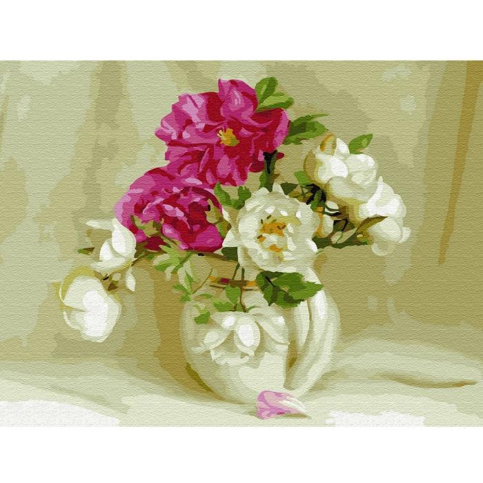 Картина по номерам с цветной схемой на холсте Molly арт.KK0655 Бузин. В белом кувшинчике (23 цвета) 30х40 см