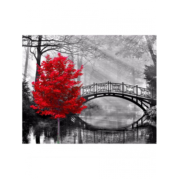 Картина по номерам с цветной схемой на холсте Molly арт.KK0673 Красное дерево в парке 30х40 см