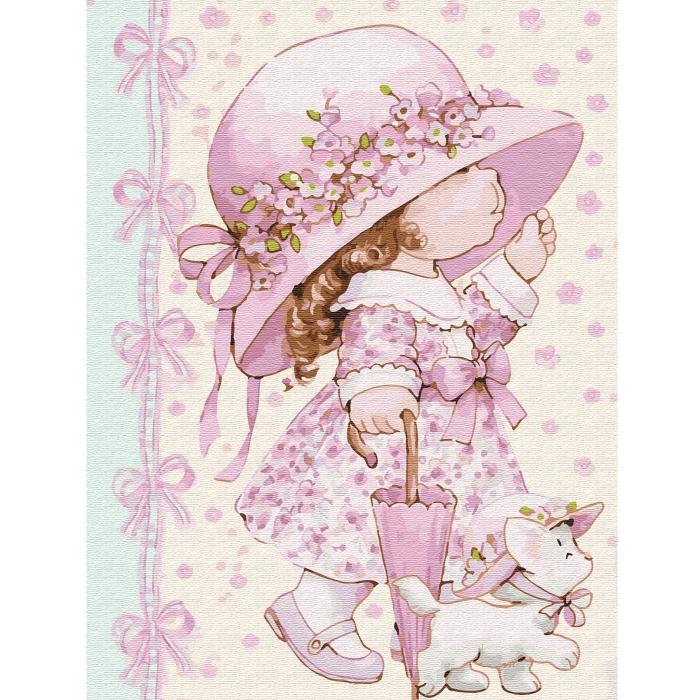 Картина по номерам с цветной схемой на холсте Molly арт.KK0646 Маленькая модница (20 цветов) 30х40 см