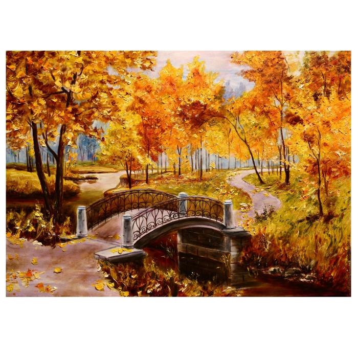 Картина по номерам с цветной схемой на холсте Molly арт.KK0606 Золотая осень (17 цветов) 30х40 см