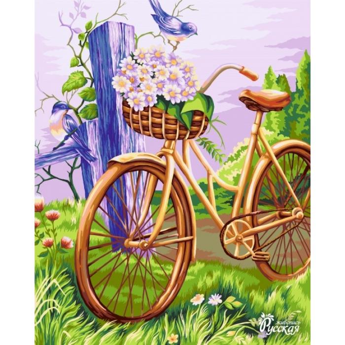 Картины по номерам Русская Живопись ФТ.E009 Велосипед с корзинкой 40х50 см