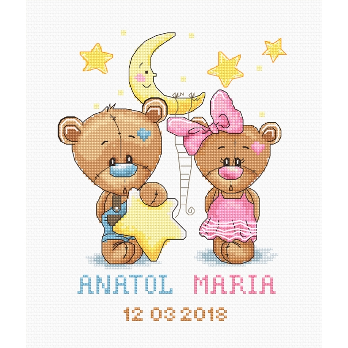 Набор для вышивания LUCA-S арт. B1148 Метрика, Анатолий и Мария 13,5х17 см