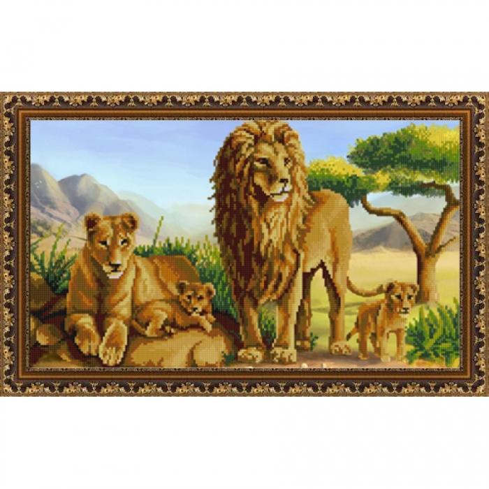 Рисунок на ткани (Бисер) КОНЁК арт. 9823 Львы 25х45 см