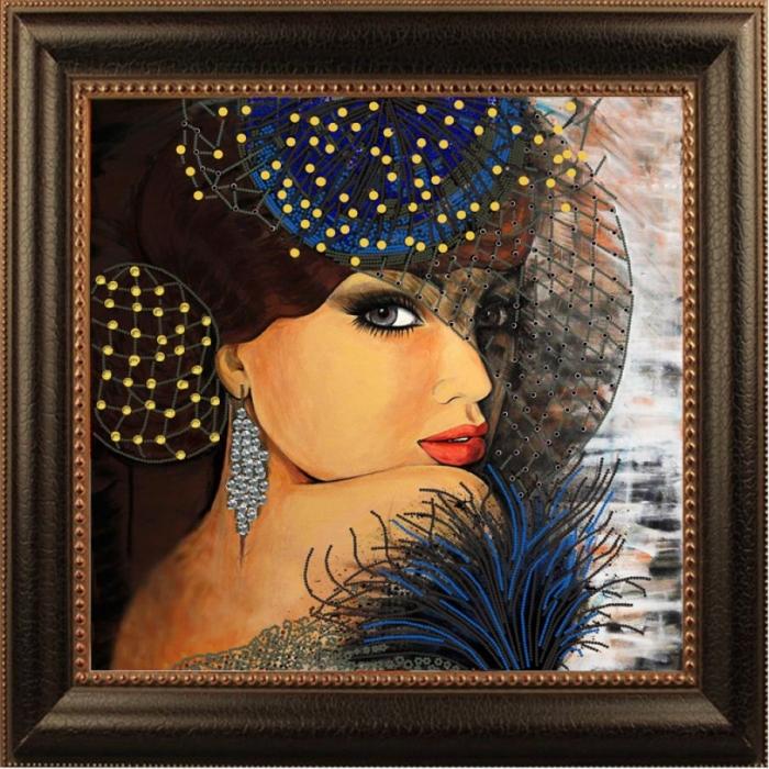 Рисунок на ткани (Бисер) КОНЁК арт. 8430 Дама под вуалью 40х40 см