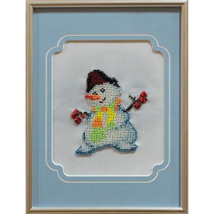 Набор для вышивания бисером с паспарту МАТРЕНИН ПОСАД арт.18х24 - 84/БП Снеговик
